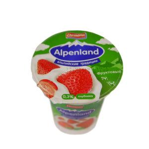 Альпенлэнд фруктовый 0,3% 320г Продукт йогуртный пастеризованный фруктовый Стакан