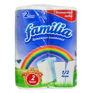 """Бумажные полотенца белые """"Familia"""" Радуга двухслойные, 2 шт"""