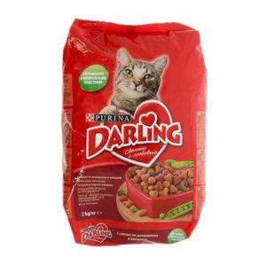 Корм DARLING Сухой для кошек Мясо Овощи 2кг