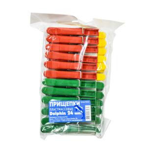 Прищепка пластиковая Дельфин (24шт.) в пакете 1/50 ПБ 012