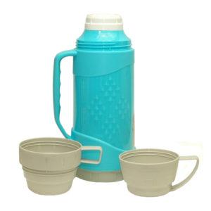Термос 1л пластиковый со стеклянной колбой две чашки