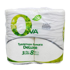 Туалетная бумагаOva3 слоя 8шт куб
