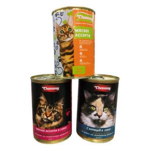 "Корм консервированный для кошек, TM ""Chammy"" мясное ассорти в соусе, 415 гр ж/б"