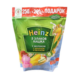 Кашка Хайнц Молочная 5 злаков с бананом и яблоком пауч 300 г